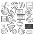 monochrome retro postage stamps set vector image vector image