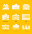 municipal buildings white icons vector image vector image