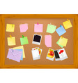 Office supplies on brown desk vector image
