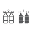 oxygen tank line and glyph icon diving vector image vector image