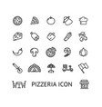 pizza sign black thin line icon set vector image vector image