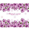 purple flowers poster card frame delicate vector image