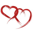 red grunge heart shapes vector image vector image