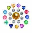 Round composition colored gems set