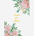 save date card with pink flowers and greenery vector image