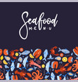 seafood menu design for restaurant or cafe flat vector image