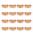 set fun kawaii hotdog icon cartoons vector image