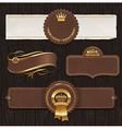 set leather golden framed labels vector image vector image