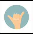 shaka hand sign surfing icon vector image vector image