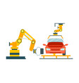 smart robotic automotive assembly line vector image