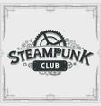 steampunk club logo design victorian cogwheels vector image vector image