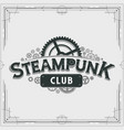 steampunk club logo design victorian era cogwheels vector image vector image
