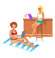 two women on resort color vector image vector image