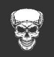 vintage skull in russian ushanka hat vector image