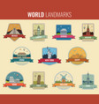 world landmarks icon set travel and tourism vector image vector image