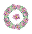 wreath pink lotus delicate romantic style for vector image