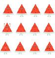 emoticons fruit set emoji cute watermelon vector image