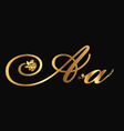 Gold letter A with roses vector image