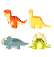 Set of colourful dinosaurs vector image