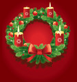advent wreath with burning candles vector image vector image