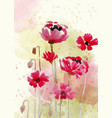 beautiful hand painted floral background in vector image vector image