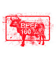 beef 100 per cent - red rubber grungy stamp in vector image vector image