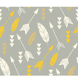 Bohemian feathers and arrows seamless pattern vector image