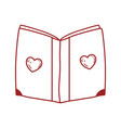 book day cover with hearts textbook isolated icon vector image vector image