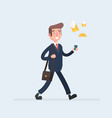businessman walk with a smartphone in hand and vector image vector image