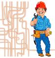 cheerful locksmith plumber vector image