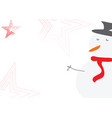 christmas card with snowman and red stars vector image vector image