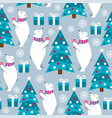 christmas seamless pattern with polar bears and vector image vector image