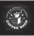 coffee logo badge template on chalkboard vector image