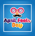 crazy glasses mustache mask april fools day card vector image vector image