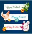 Easter holiday banner set with egg bunny chicken