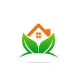 eco house green leaf logo vector image vector image