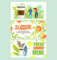 fresh summer menu horizontal banners summertime vector image vector image