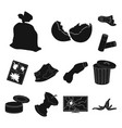 garbage and waste black icons in set collection vector image vector image