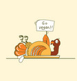go vegan symbol thanksgiving turkey on holiday vector image vector image