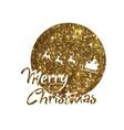 golden glitter santa claus reindeer and moon vector image vector image