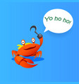 happy cartoon comics crab pirate vector image