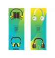 headphone headset listening to stereo sound vector image vector image