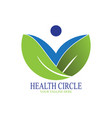 healthy circle logo with abstract people vector image vector image