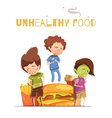 Junk Food Harmful Effects Cartoon Poster vector image vector image