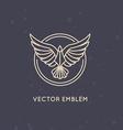 linear logo design template - eagle emblem vector image vector image