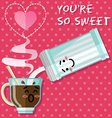 loving couple of coffee or tea cup and sugar bowl vector image