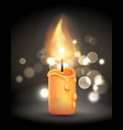magic burning candle with flame realistic design vector image