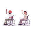 male female young wheelchair user high five vector image vector image