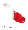 Map of Malta with flag vector image vector image
