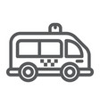 mini bus line icon automobile and car minivan vector image vector image